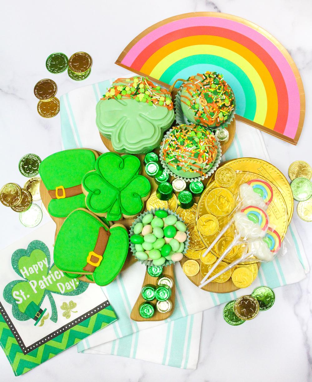 Saint Patrick's Day Treat Board Flat Lay