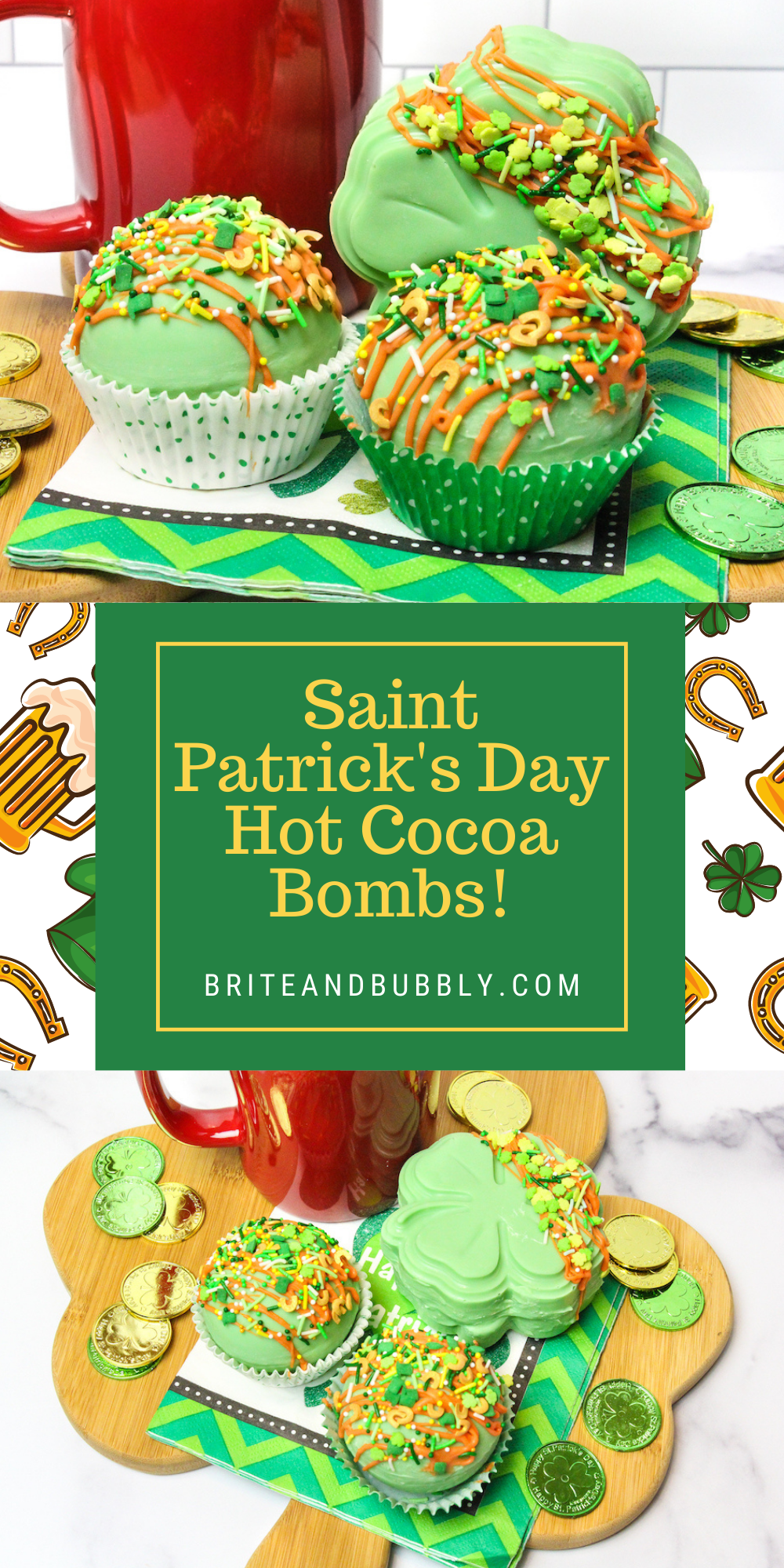 Pinterest Long Image of Final Saint Patrick's Hot Cocoa Bombs
