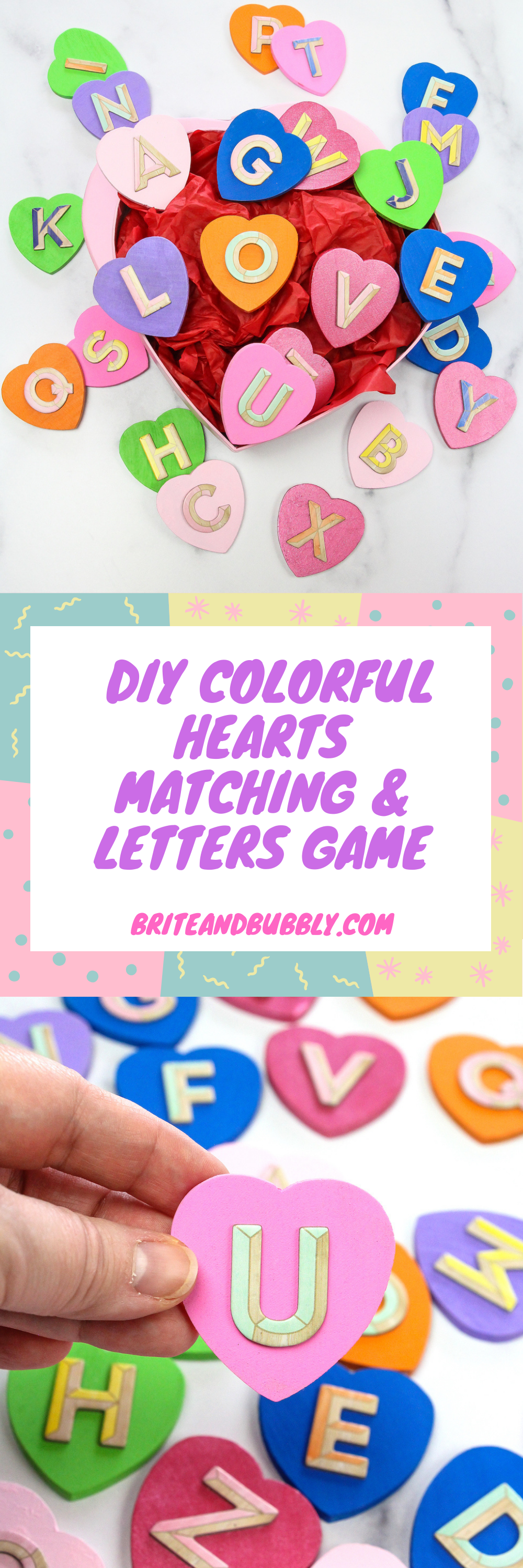 Colorful Hearts Matching & Letters Game Pin