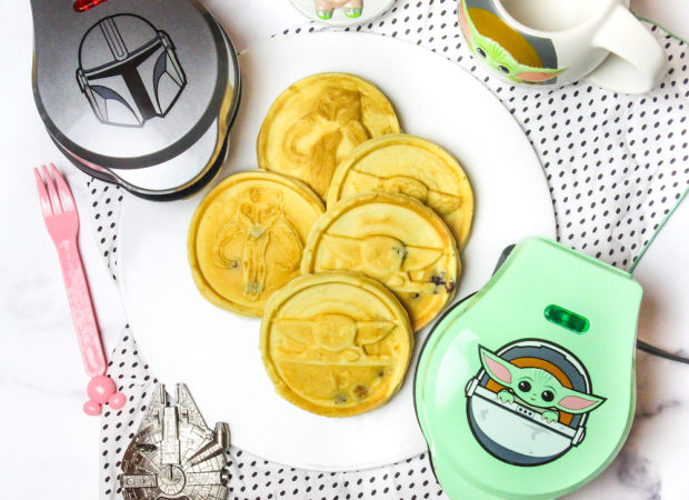 Baby Yoda and Mandolorian Mini Waffle Makers table setting