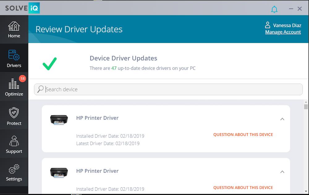 Screen capture of driver updates