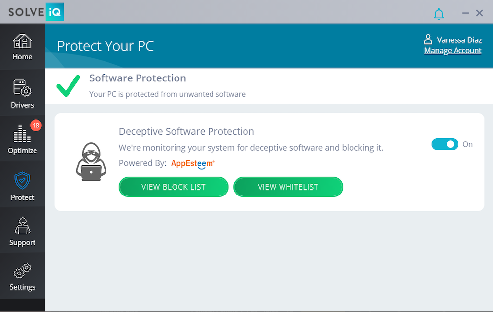 Screen capture of protect your pc software