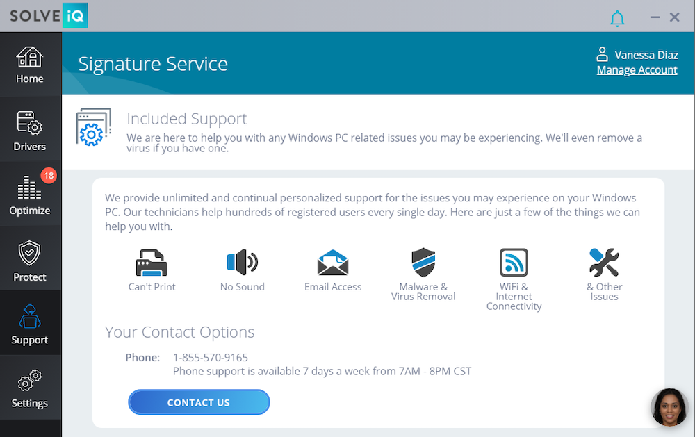 screen capture of tech support