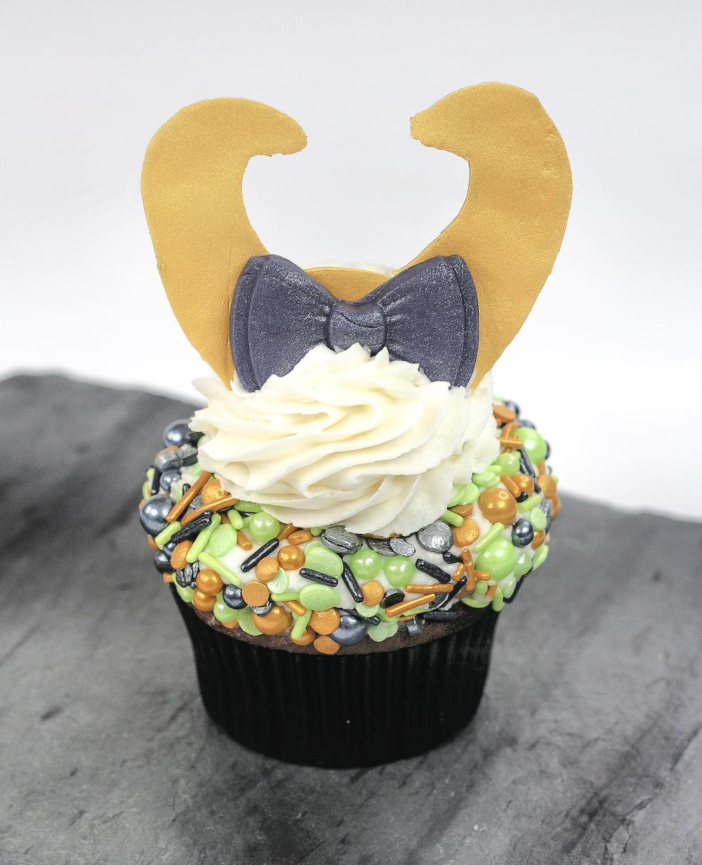 Loki Cupcake Step 4 add horns