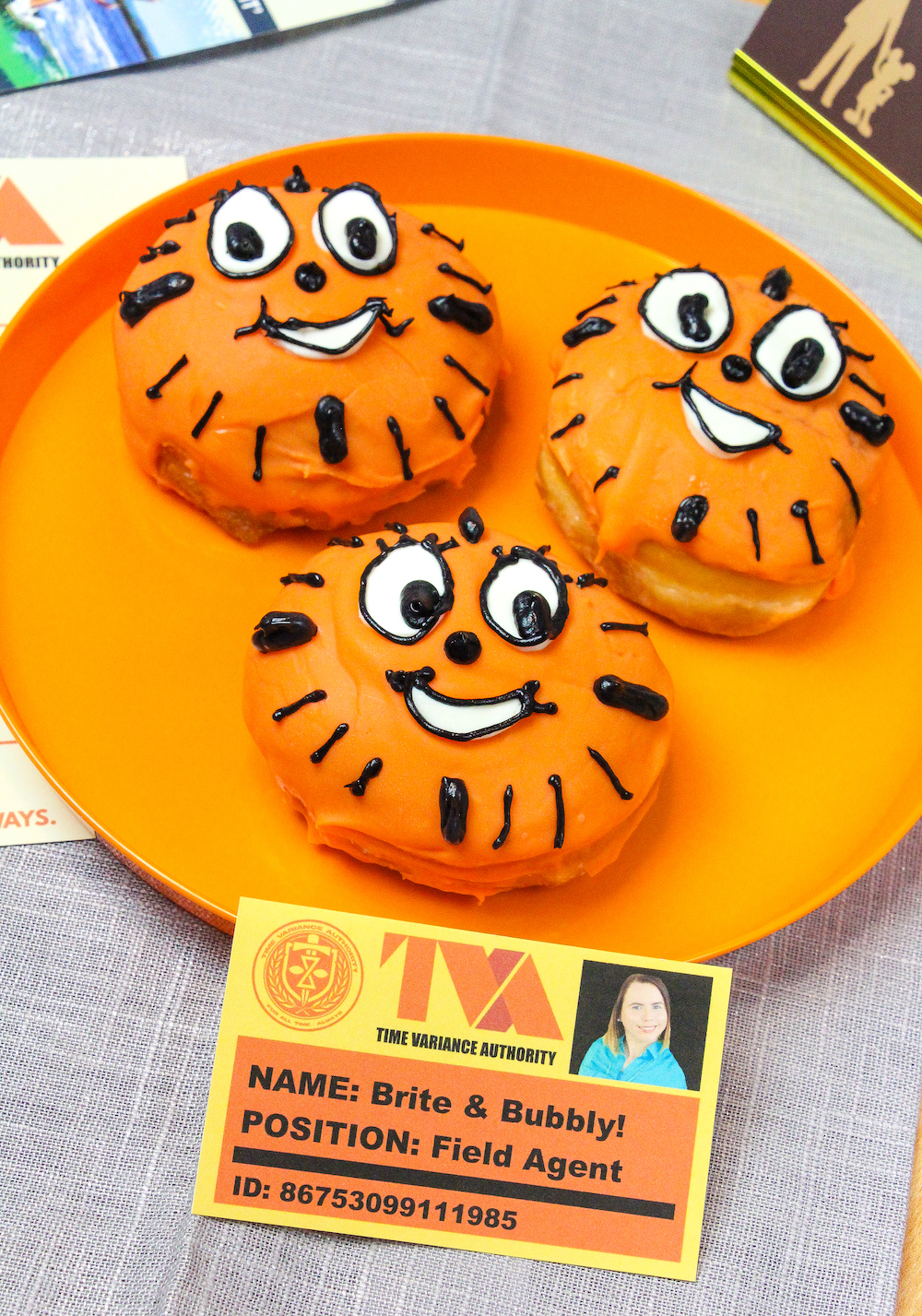 Miss Minutes Donuts on tray and table with tva id