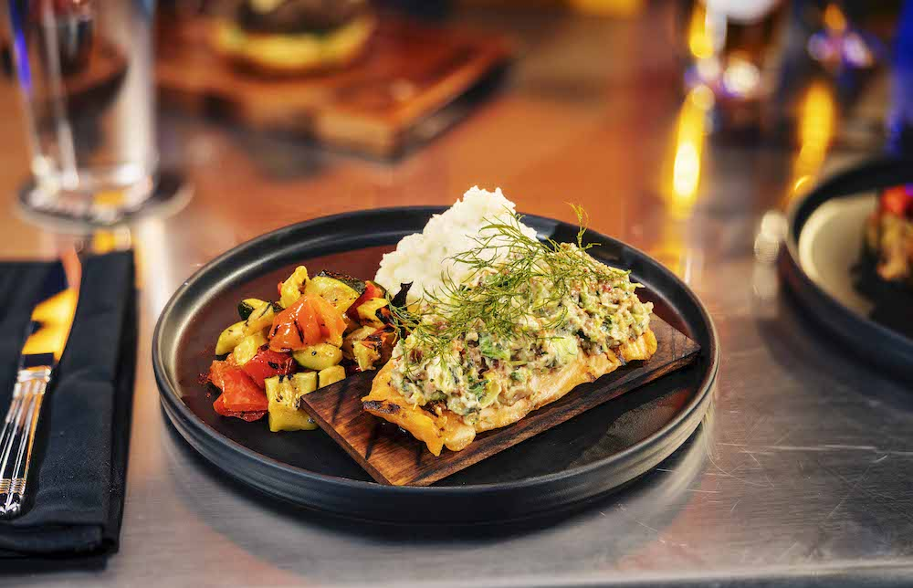 Cedar Plank Salmon at NBC Sports Grill & Brew at Universal CityWalk in Hollywood